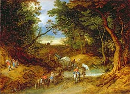 Travellers in a Forest Landscape, 1608 von Jan Bruegel the Elder | Gemälde-Reproduktion