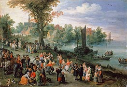 Wooded River Landscape with Peasants and Travellers, Undated by Jan Bruegel the Elder | Painting Reproduction