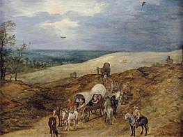 Landscape with Wagons, 1603 von Jan Bruegel the Elder | Gemälde-Reproduktion