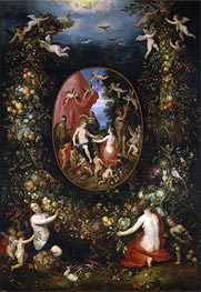 Cybele and the Seasons in a Garland of Fruit, b.1618 von Jan Bruegel the Elder | Gemälde-Reproduktion
