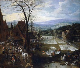 Flemish Market and Washing Place | Jan Bruegel the Elder | Painting Reproduction