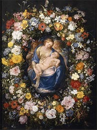 Garland with the Virgin, the Christ Child and two Angels | Jan Bruegel the Elder | Painting Reproduction