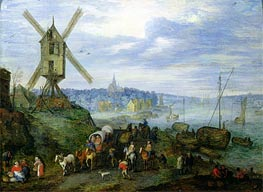 River Landscape, Undated by Jan Bruegel the Elder | Painting Reproduction