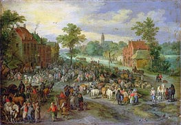 A Village Market, Undated by Jan Bruegel the Elder | Painting Reproduction