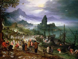 Christ Preaching at the Seaport, 1597 by Jan Bruegel the Elder | Painting Reproduction