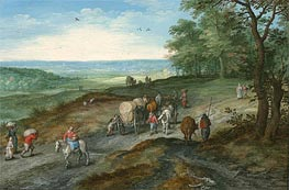 Panoramic Landscape with Covered Waggon and Travellers, 1612 by Jan Bruegel the Elder | Painting Reproduction
