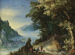 Mountainous River Landscape with Travellers, 159? by Jan Bruegel the Elder | Painting Reproduction