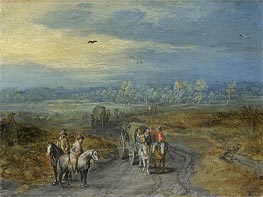 Travellers on a Country Road, Undated by Jan Bruegel the Elder | Painting Reproduction