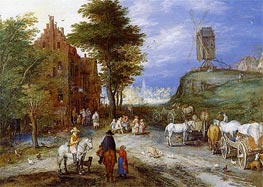Village Entrance with Windmill, Undated by Jan Bruegel the Elder | Painting Reproduction