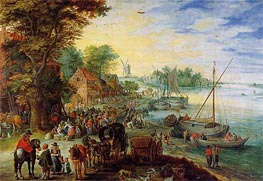 Fish Market on the Banks of the River, 1611 by Jan Bruegel the Elder | Painting Reproduction