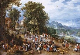 A Village Festival, 1600 von Jan Bruegel the Elder | Gemälde-Reproduktion