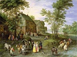 Village Landscape with Figures Preparing to Depart, c.1613/17 von Jan Bruegel the Elder | Gemälde-Reproduktion