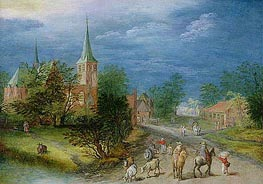 Village Landscape with Travellers, Undated von Jan Bruegel the Elder | Gemälde-Reproduktion