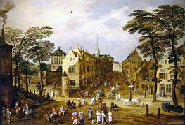 A View of a Flemish Street with Townsfolk and Waggoners, undated von Jan Bruegel the Elder | Gemälde-Reproduktion