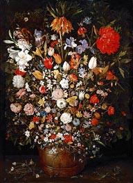 Flowers in a Wooden Vessel, c.1606/07 von Jan Bruegel the Elder | Gemälde-Reproduktion