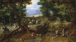 A Woodland Road with Travelers, 1607 von Jan Bruegel the Elder | Gemälde-Reproduktion