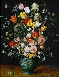 Flowers in a Blue Vase, 1608 von Jan Bruegel the Elder | Gemälde-Reproduktion