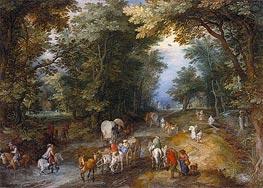 Busy Forest Track, 1605 von Jan Bruegel the Elder | Gemälde-Reproduktion
