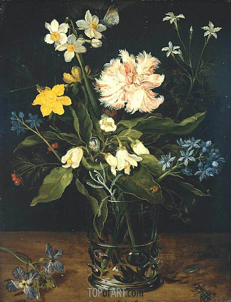 Still Life with Flowers in a Glass, c.1578/25 | Jan Bruegel the Elder | Painting Reproduction