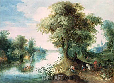 River Landscape, undated | Jan Bruegel the Elder | Gemälde Reproduktion
