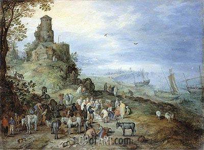 Coastal Landscape with the Calling of St. Peter and Andrew, 1608 | Jan Bruegel the Elder | Painting Reproduction