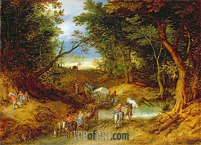Travellers in a Forest Landscape, 1608 | Jan Bruegel the Elder | Gemälde Reproduktion