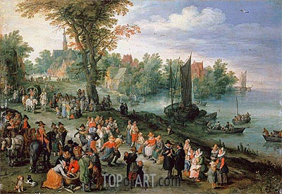 Jan Bruegel the Elder | Wooded River Landscape with Peasants and Travellers,