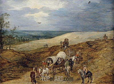 Landscape with Wagons, 1603 | Jan Bruegel the Elder | Painting Reproduction