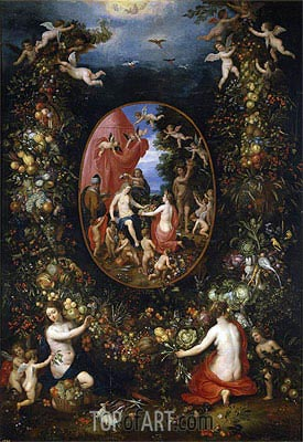 Cybele and the Seasons in a Garland of Fruit, b.1618 | Jan Bruegel the Elder | Gemälde Reproduktion