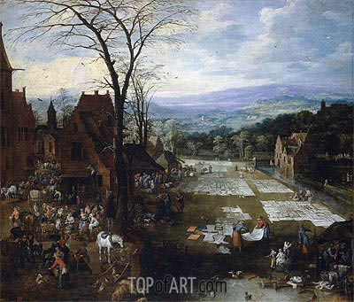 Jan Bruegel the Elder | Flemish Market and Washing Place, c.1620