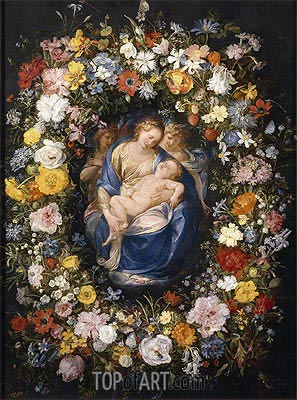 Jan Bruegel the Elder | Garland with the Virgin, the Christ Child and two Angels, c.1620