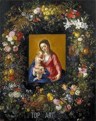 Jan Bruegel the Elder | Garland with the Virgin and Child, c.1621