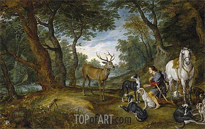 Saint Hubert's Vision, c.1615/30 | Jan Bruegel the Elder| Painting Reproduction