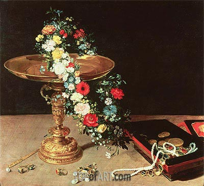 Still Life with a Wreath of Flowers, 1618 | Jan Bruegel the Elder | Painting Reproduction