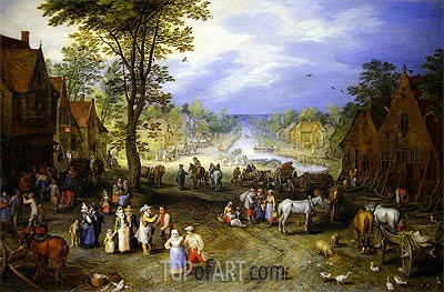 Village Scene with Canal Beyond, 1609 | Jan Bruegel the Elder | Painting Reproduction