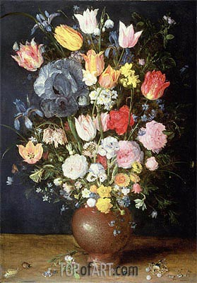 Jan Bruegel the Elder | A Stoneware Vase of Flowers, c.1607/08