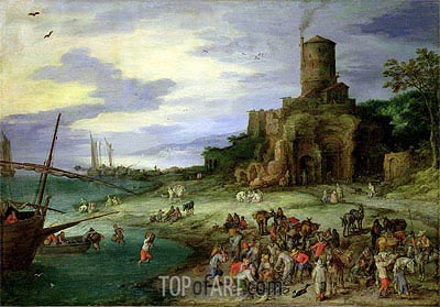 Fishermen on the Shore (Coastal Landscape with the Tomb of Scipion), 1607 | Jan Bruegel the Elder | Painting Reproduction