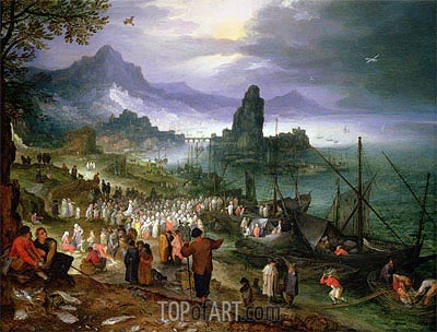 Christ Preaching at the Seaport, 1597 | Jan Bruegel the Elder | Gemälde Reproduktion