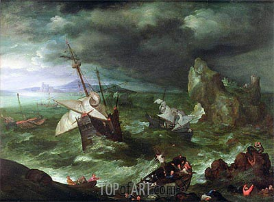 Jan Bruegel the Elder | A Sea Storm, c.1594/95