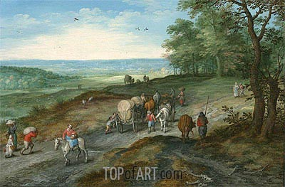 Panoramic Landscape with Covered Waggon and Travellers, 1612 | Jan Bruegel the Elder | Painting Reproduction