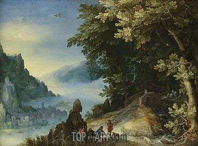 Mountainous River Landscape with Travellers, 159? | Jan Bruegel the Elder | Painting Reproduction
