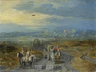 Travellers on a Country Road,  | Jan Bruegel the Elder | Painting Reproduction