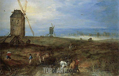 Landscape With Travellers,  | Jan Bruegel the Elder | Painting Reproduction