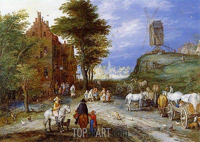 Village Entrance with Windmill,  | Jan Bruegel the Elder | Gemälde Reproduktion
