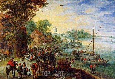 Fish Market on the Banks of the River, 1611 | Jan Bruegel the Elder | Gemälde Reproduktion