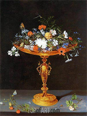Flowers in a Golden Tazza, 1612 | Jan Bruegel the Elder | Painting Reproduction