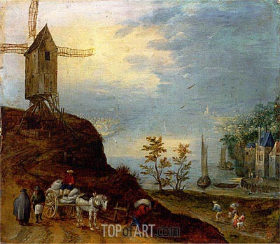 An Extensive River Landscape with a Windmill and Travellers on a Path,  | Jan Bruegel the Elder | Gemälde Reproduktion