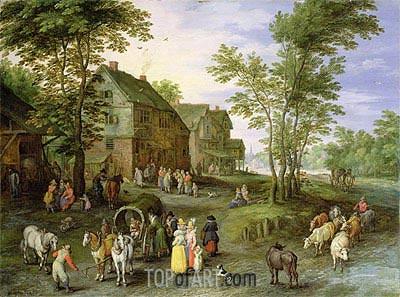 Jan Bruegel the Elder | Village Landscape with Figures Preparing to Depart, c.1613/17