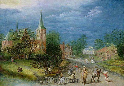 Village Landscape with Travellers,  | Jan Bruegel the Elder | Painting Reproduction