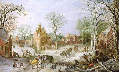 Jan Bruegel the Elder | A Wooded Winter Landscape with a Cart , undated